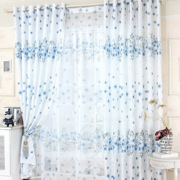 Polyester Fabric Blue Floral In White Fabric Teen Room Curtains
