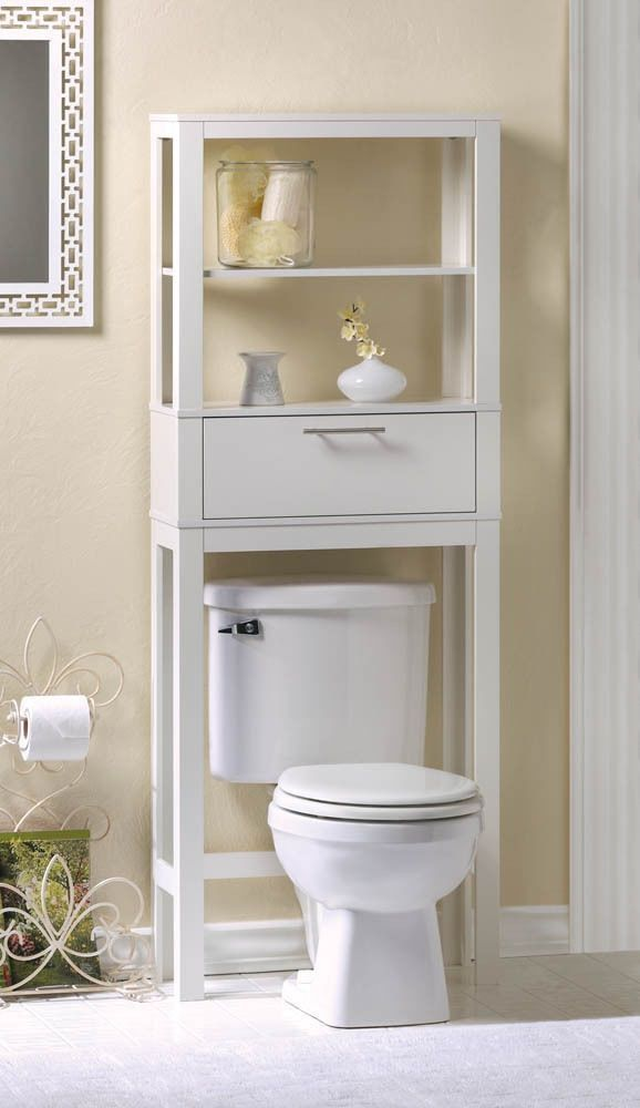 52 Modern White Bathroom Shelf Over Toilet Room Organizer Storage
