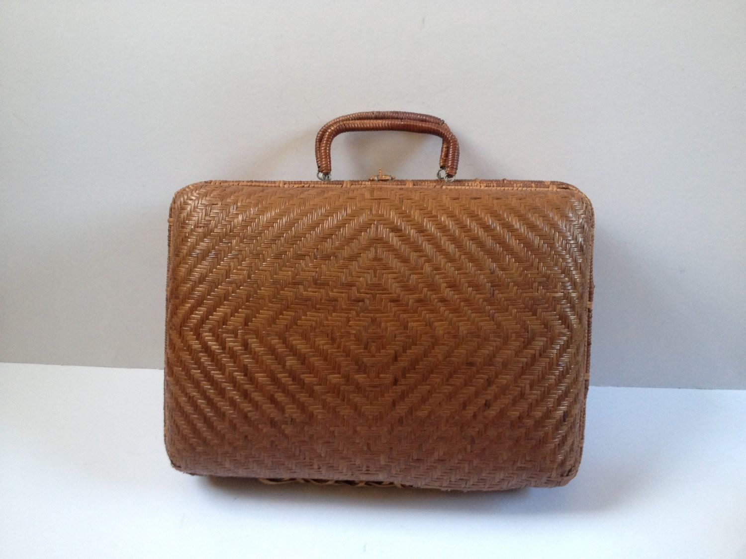 Vintage French Wicker Suitcase Small Wicker Suitcase Woven Suitcase