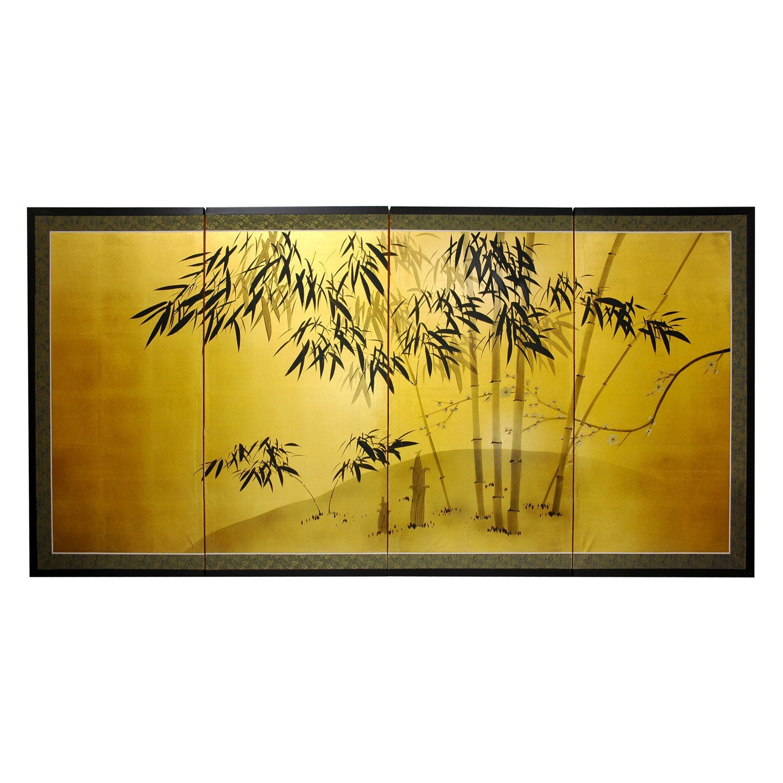 Oriental Unlimited Gold Leaf Bamboo Wall Art - SILK-BAMBOO-18H ...
