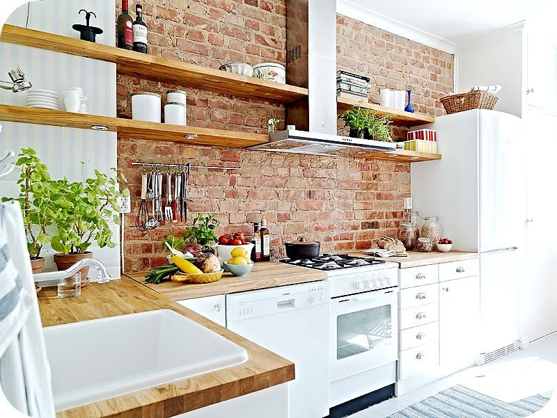 Brick Wall In The Kitchen Open Shelves