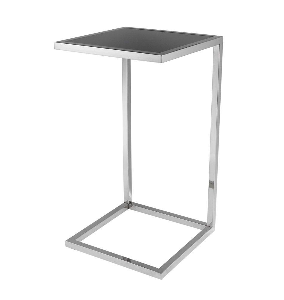 Eichholtz Beistelltisch U Form Galleria Nickel Glas Silberfarben Silver Side Table Side Table Glass Side Tables