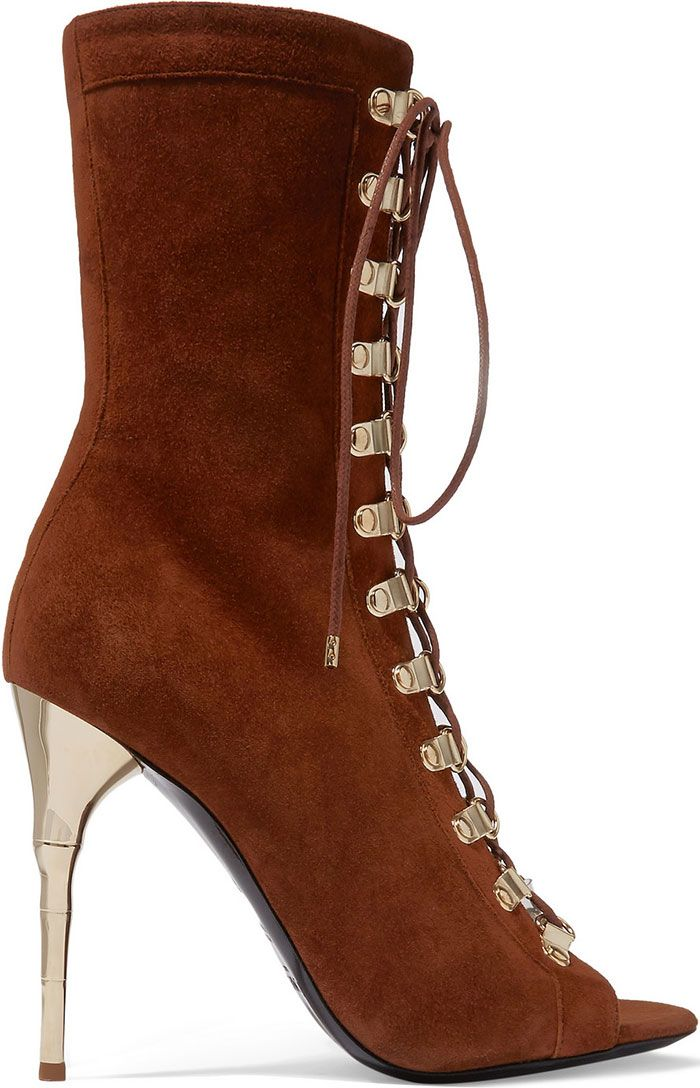"""1cd7e5c293 Balmain """"Ava"""" Lace-Up Suede Boots 