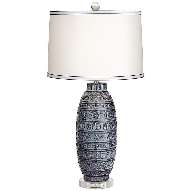 Cullen Blue Ceramic Table Lamp 40m56 Lamps Plus Blue Table Lamp Ceramic Table Lamps Table Lamp