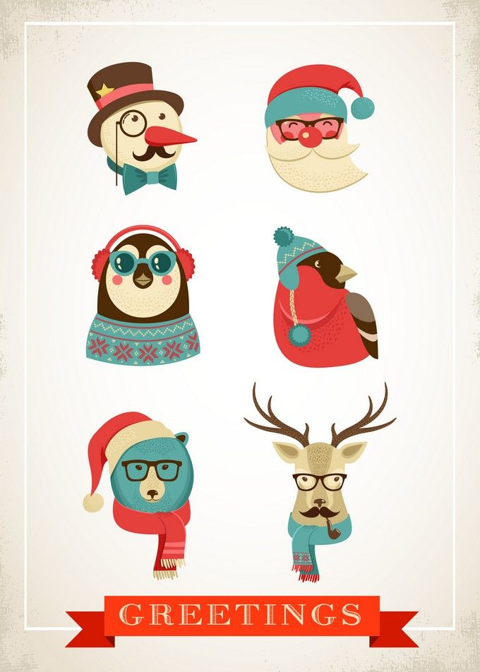 A Hipster Christmas Holiday Greeting Card | Holiday Cards & Ideas ...
