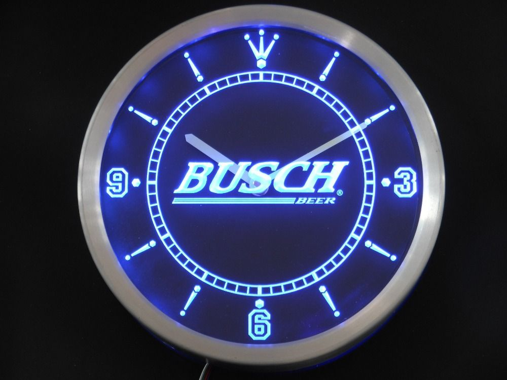 Nc0482 Busch Bar Beer Neon Sign Led Wall Clock Led Wall Clock Wall Clock Led Clock