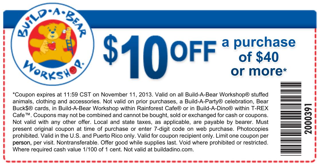 photo relating to Build a Bear Coupons Printable identified as Create-A-Undergo: $10 off $40 Printable Coupon Coupon codes Acquire