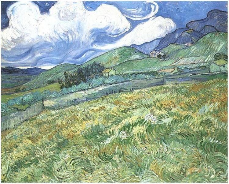 Paisaje Montanoso Detras Del Hospital De Arles Etapa De Arles 1889 1890 Pintor Van Gogh Pinturas De Van Gogh Postimpresionismo