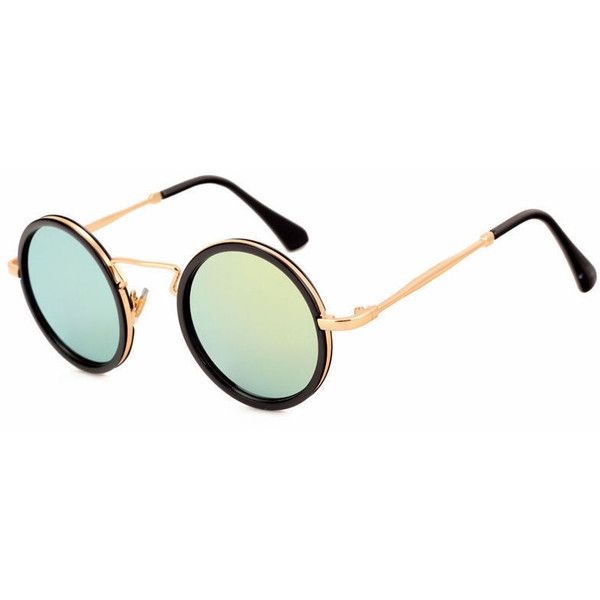 Mirrored Yellow Lens Punk Vintage Round Shaped Sunglasses