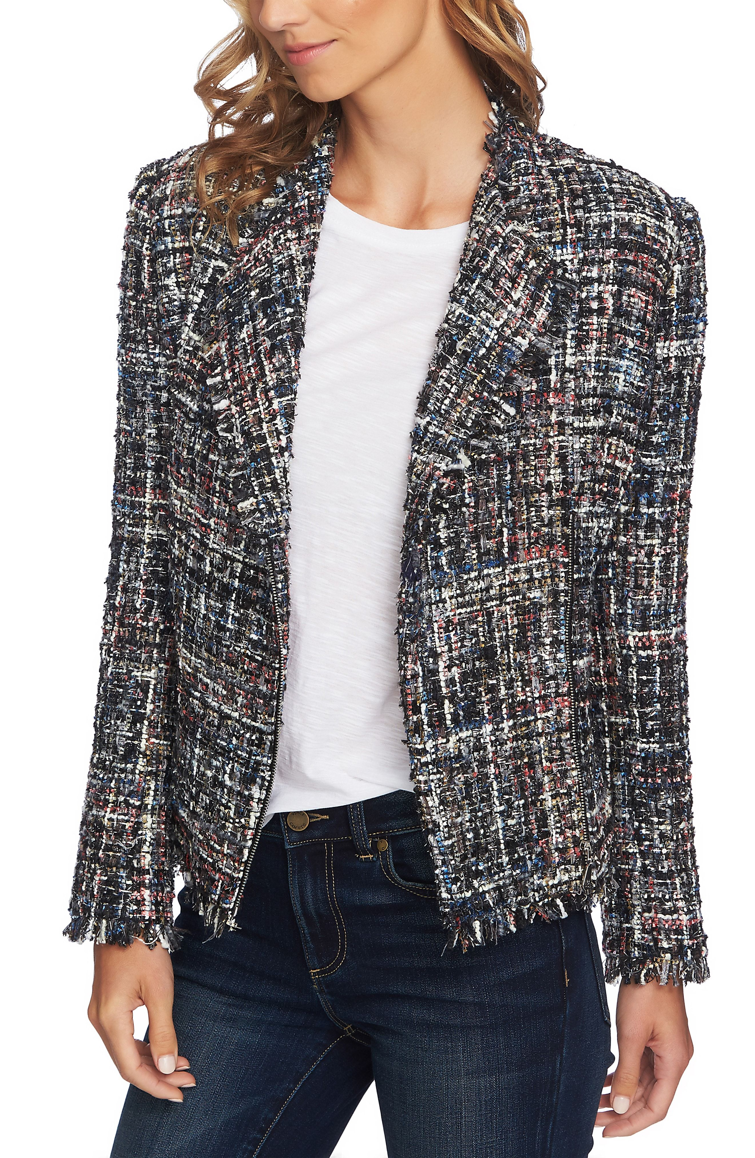 Womens Designer Inspired Pearl Button Tweed  Multi-Color Jacket Coat Blazer