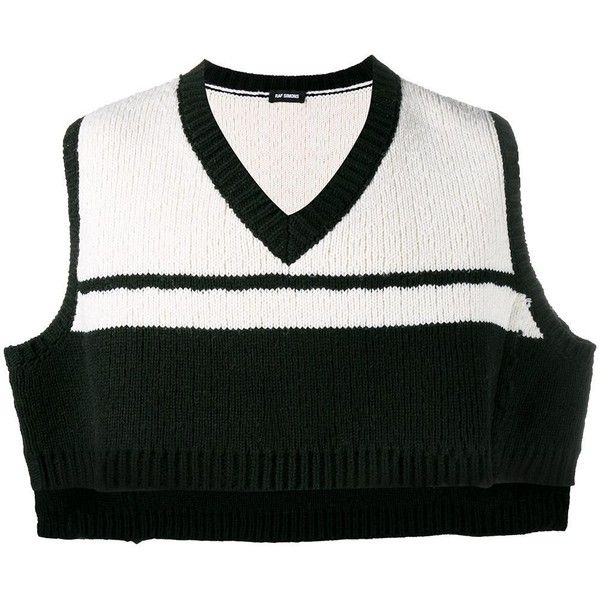 080a87ee64391a Raf Simons Knitted Cropped Vest ( 536) ❤ liked on Polyvore featuring men s  fashion