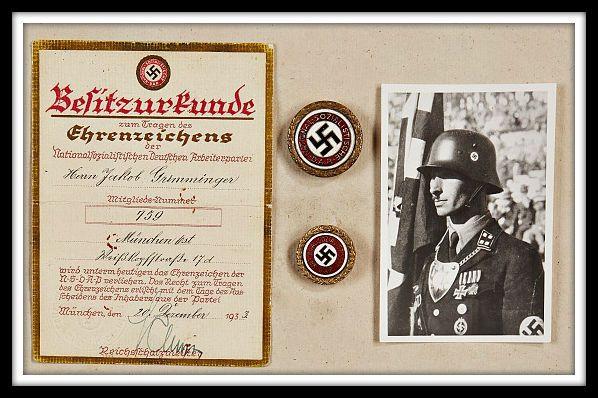 Golden Party Badges belonging to Jakob Grimminiger