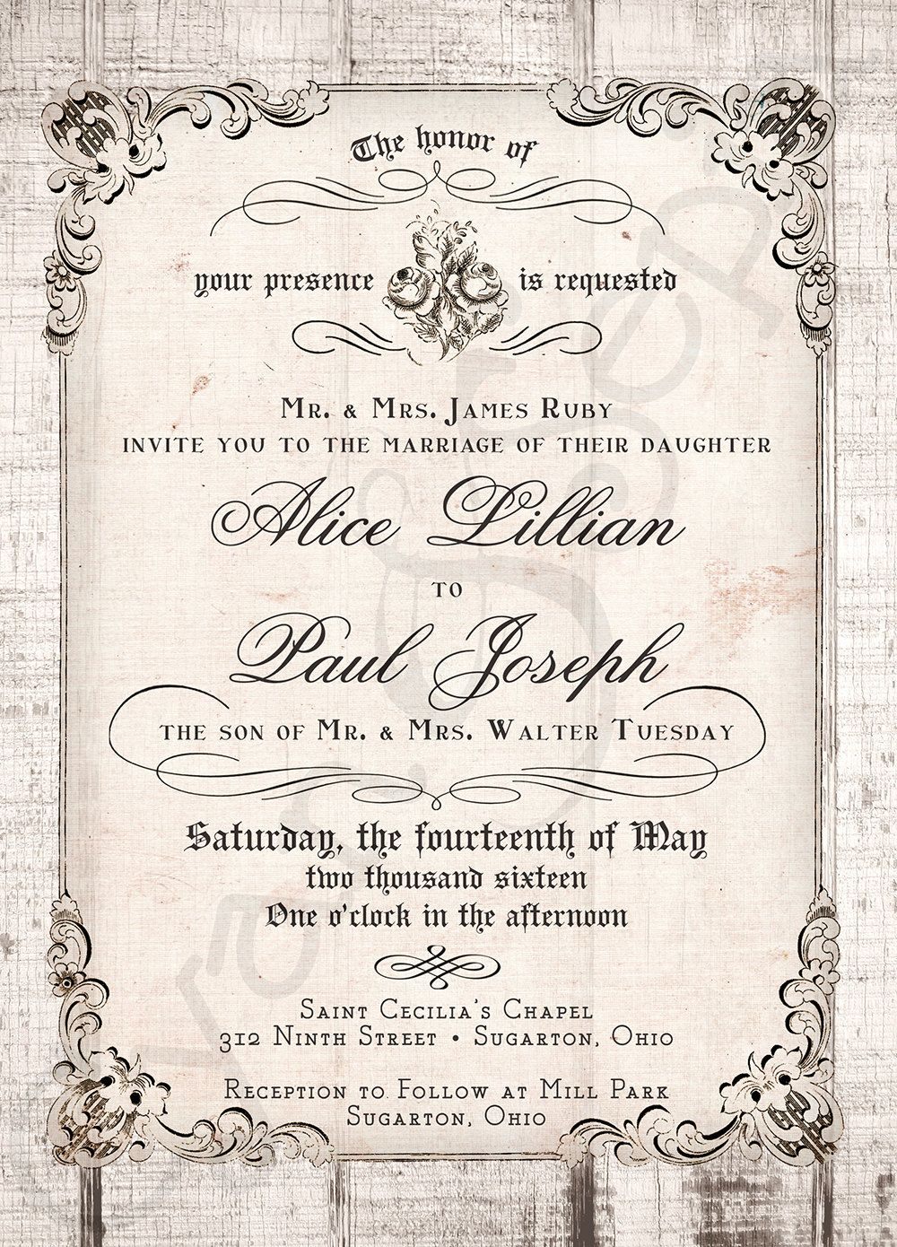 Printable 5x7 Wedding Invitation - Antique Calligraphy, Wood or ...