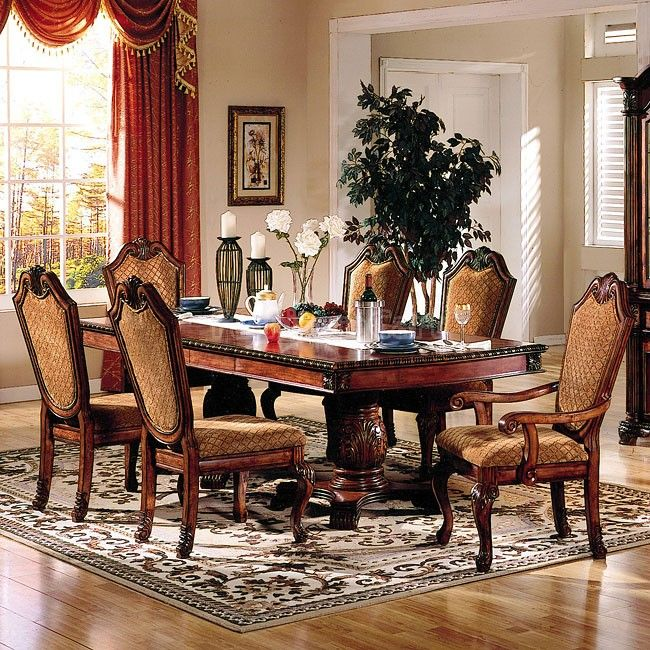 Dining Room Sets Leather Chairs Magnificent Chateau De Ville Dining Room Set W Fabric Chairs Acme Furniture Review