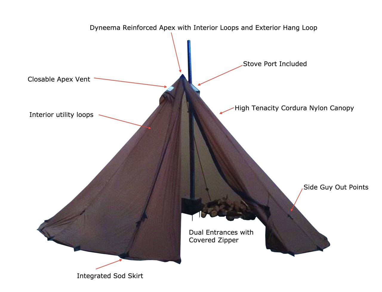 8 Person Ultralight Tipi Wood Stove Combo Tent Camping Tent