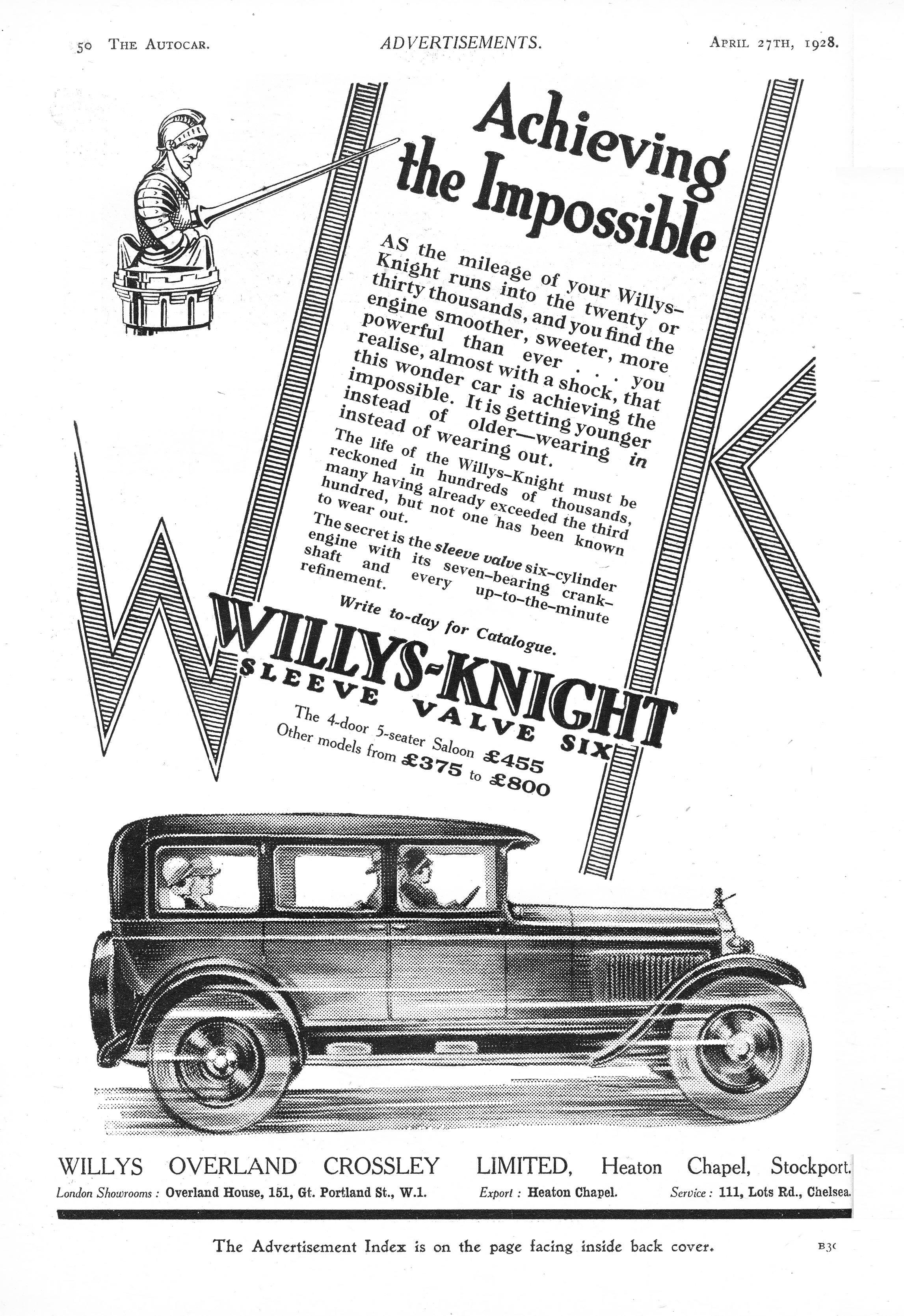 Willys Knight Sleeve Valve Six Saloon Motor Car Autocar