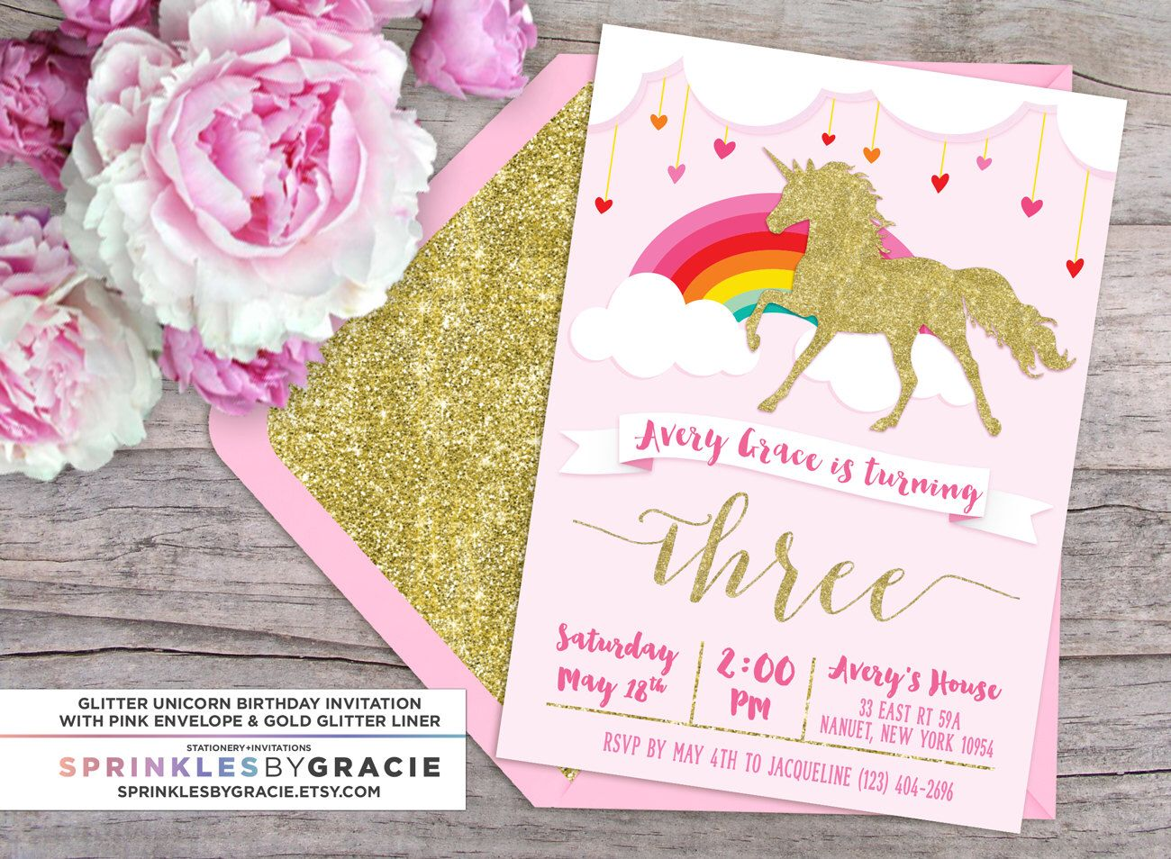 Magical Glitter Unicorn Birthday Party Invitation with Free Shipping ...