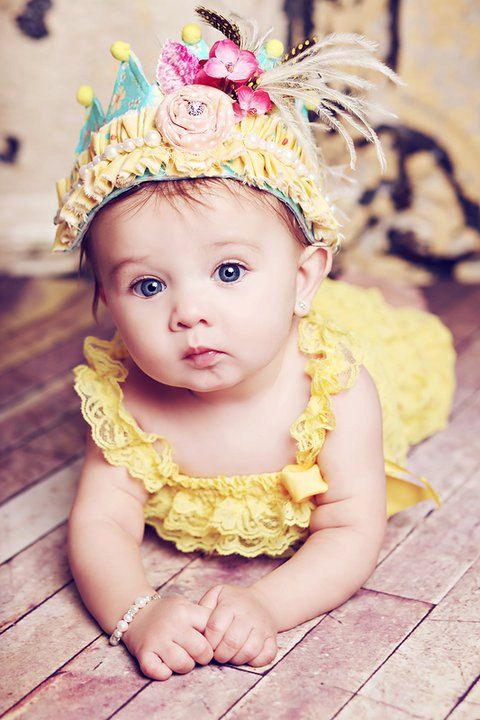WELL Yellow THERE  crown for infants, photoshoots and special occasions in yellows and blues