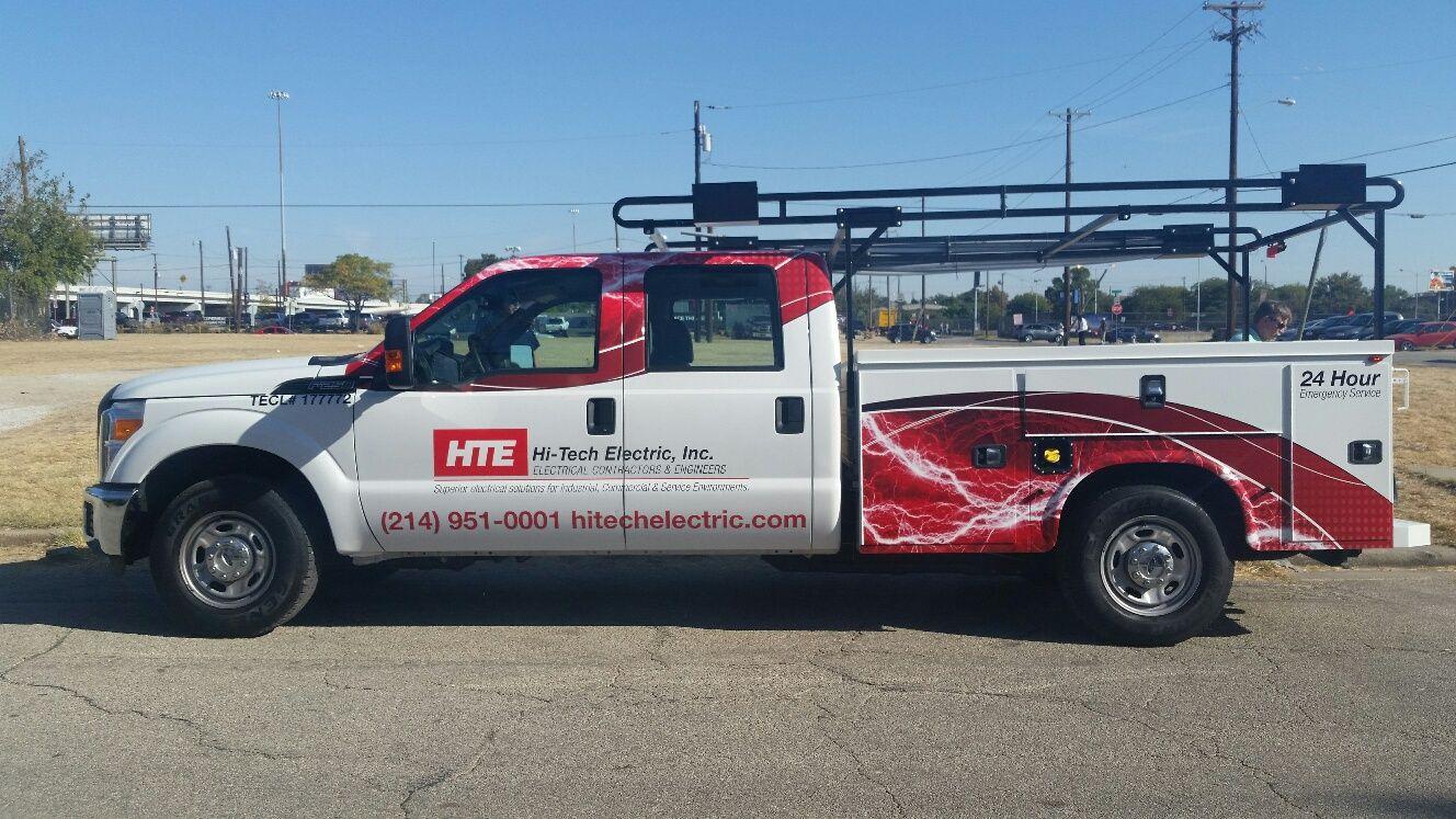 Custom designed vinyl wrap on this truck for HiTech