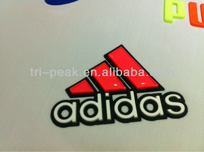 SGS proved adidas heat transfer silicone logo/silicone patch/rubber high raise logo $0.1~$0.5