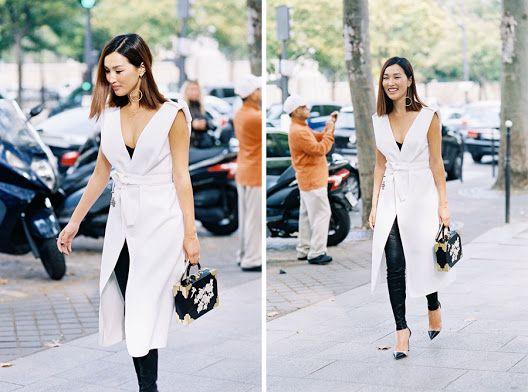 "Nicole Warne in the Maticevski ""Breathtaking Sleeveless Coat"" | tonimaticevski.com | Vanessa Jackman: Paris Fashion Week SS 2016"
