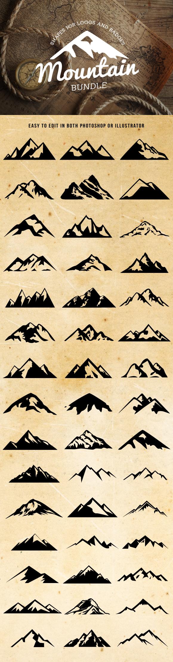 Mountain shapes for logos bundle vector shapes adobe illustrator