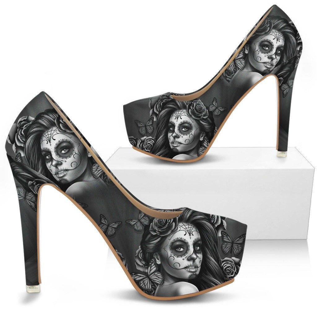 Calavera Girl High Heels Beige, Schuhe