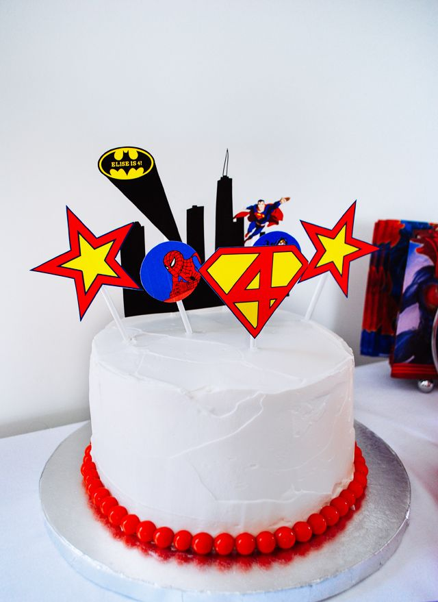 Easy Super Hero Birthday Cake With Printable Toppers
