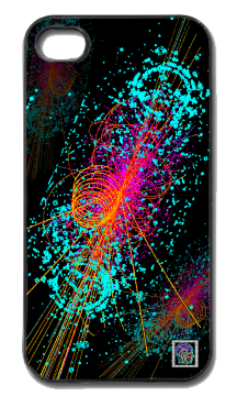"""Particle:  Higgs Boson""(c) on an iPhone cover.  (c) 2013 Textiles for Thinkers, LLC.  All Rights Reserved."