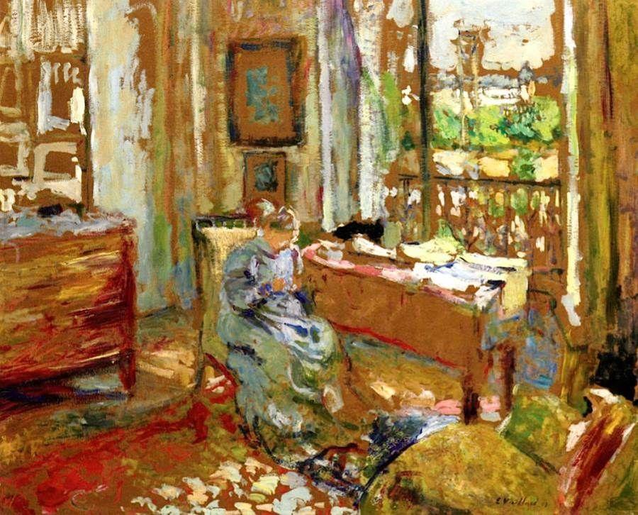 Edouard Vuillard (1868-1940) \u2013 Madame Vuillard Sewing, Rue de la