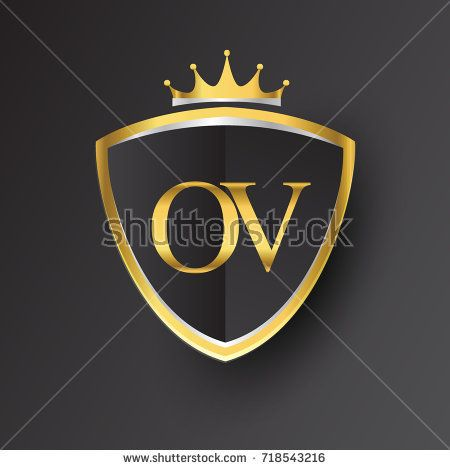 Initial logo letter OV with shield and crown Icon golden
