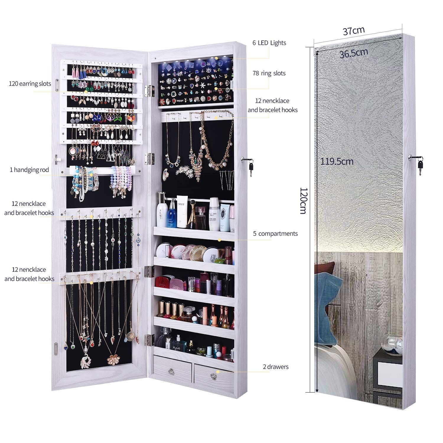 Aoou Jewelry Organizer Jewelry Cabinet Full Screen Display View Larger Mirror Lockable Wall Door Mounted Full Jewelry Mirror Jewelry Cabinet Dressing Mirror