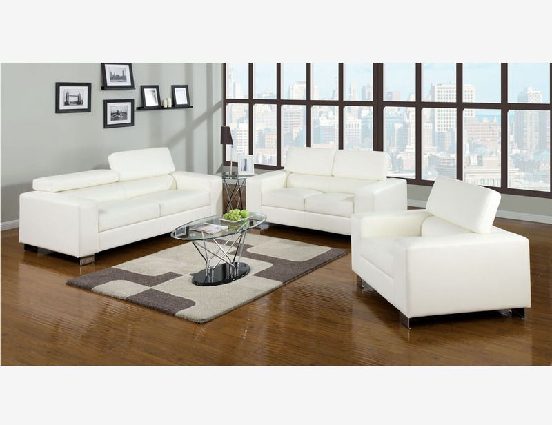 White Leather Sofa Couch Loveseat Chair Living Room Adjust Headrest
