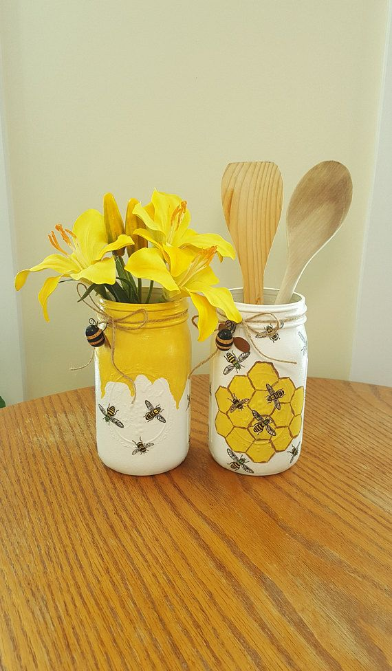 HONEY BEE Set Of 2 Mason Jars, Decoupage & Painted, Utensil Holder, Yellow Kitchen Decor, Mason Jar Vase, Mason Jar Decor, Cottage Decor