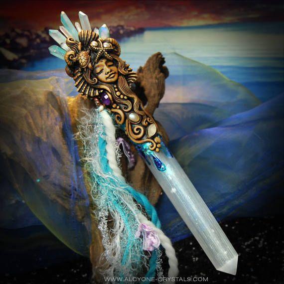 Mermaid Selenite Crystal Wand Pagan Meditation Healing Tool