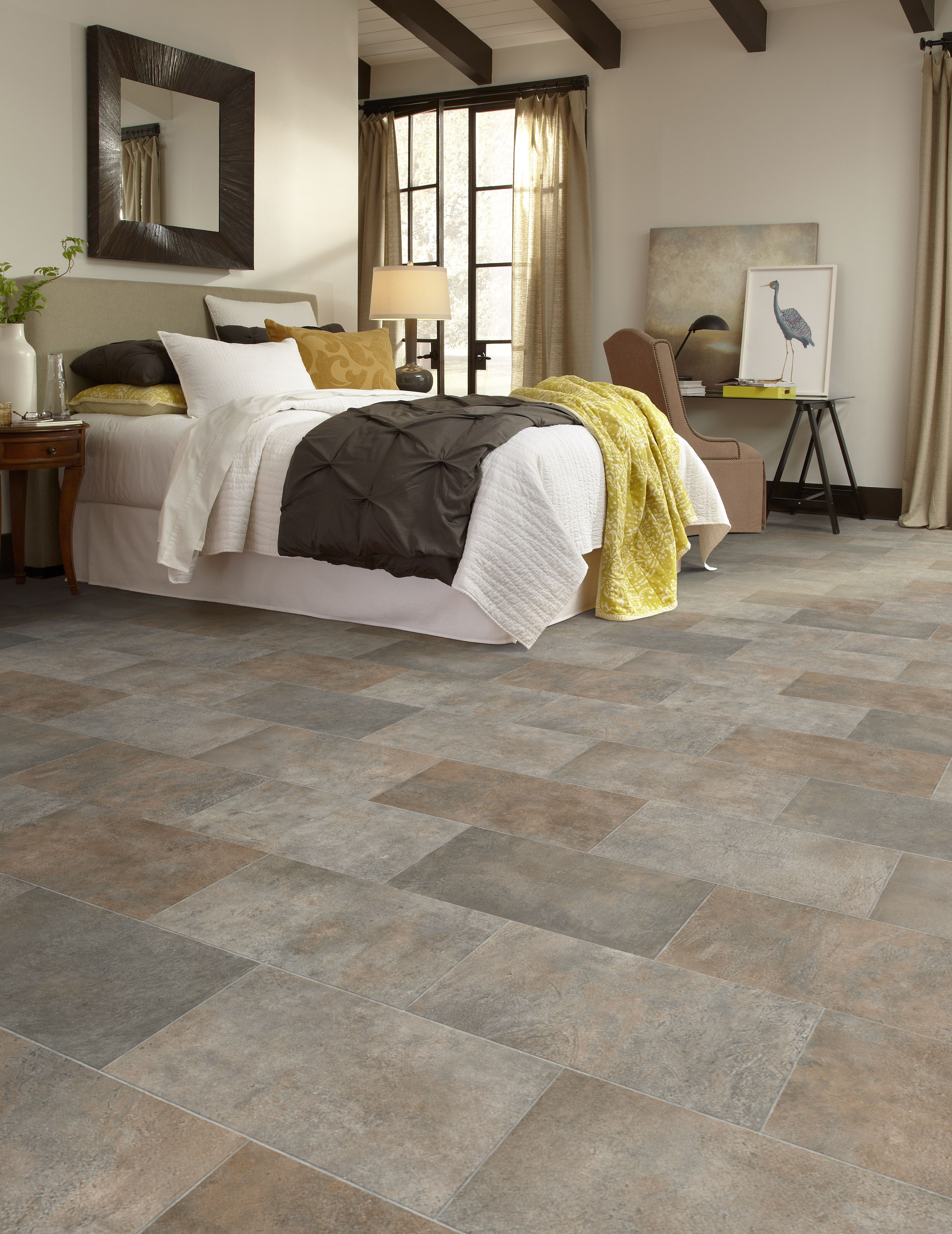 Luxurious Stone Floors Like Our Naturcor Branford 93 Beautifully Integrates Shades Of Brown And Gray Bedroom Flooring Luxury Vinyl Tile Floor Design