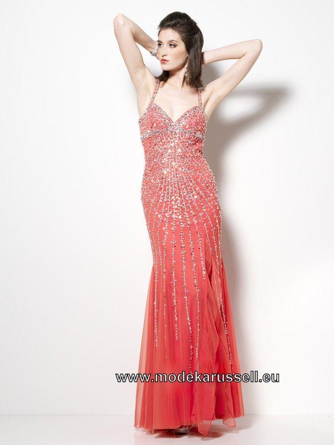 Pailetten Abendkleid Online in Orange Rot | günstige Abendkleider ...