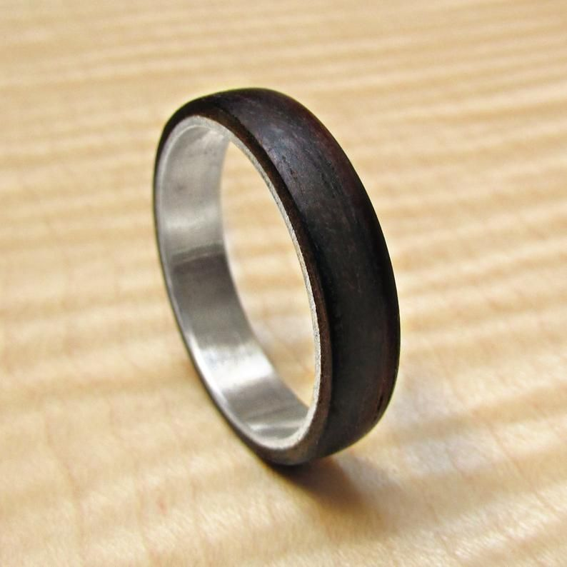 925 Sterling Silver And Amare Ebony Wood Wedding Band Mens Etsy