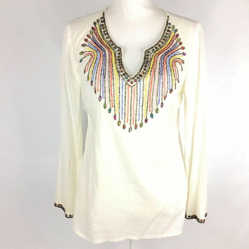 308a6408e3 Life Style Womens Top Blouse Shirt Boho Festival Long Sleeves Beaded Ivory  Sz S