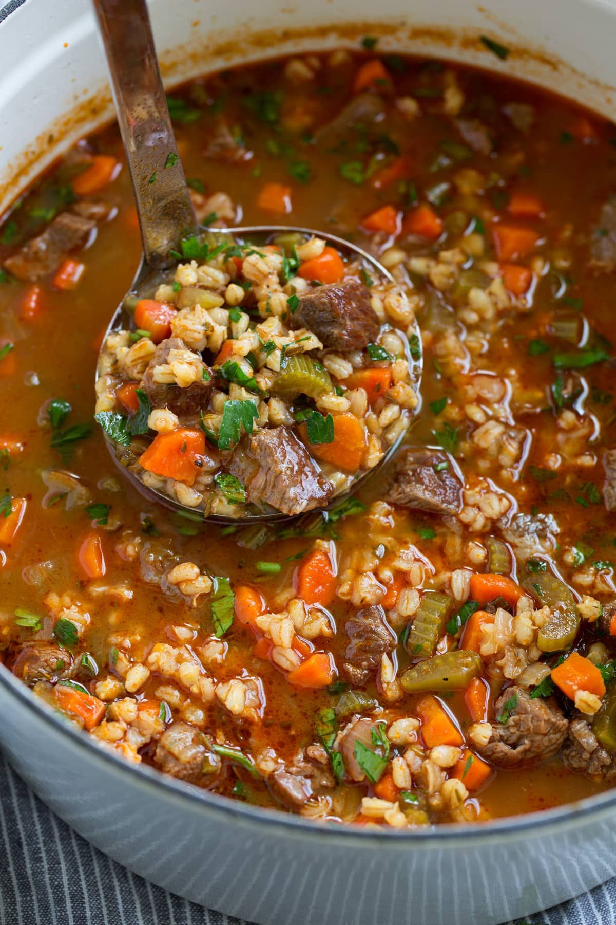 Beef Barley Soup Rich And Hearty And Perfectly Cozy Made With Tender Chunks Of Beef Roas Beef Barley Soup Stovetop Beef Barley Soup Beef Barley Soup Recipes