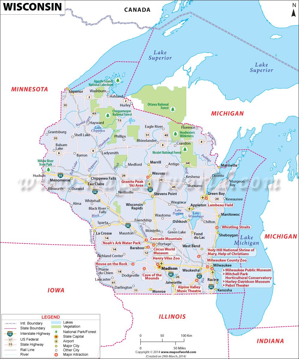 Wisconsin Map WI covers an area of 65556 sq miles and it is