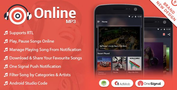 Android Music Player - Online MP3 (Songs) App | Modern Graphic