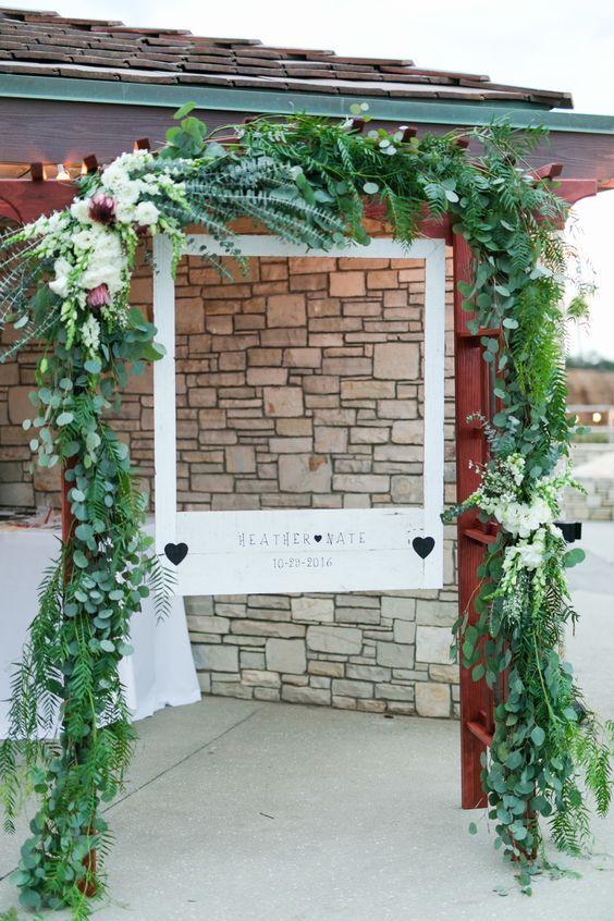 wooden polaroid frame greenery wedding booth / http://www ...