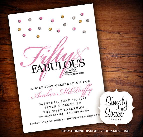 Glam Surprise 50th Birthday Party Invitation With Glitter