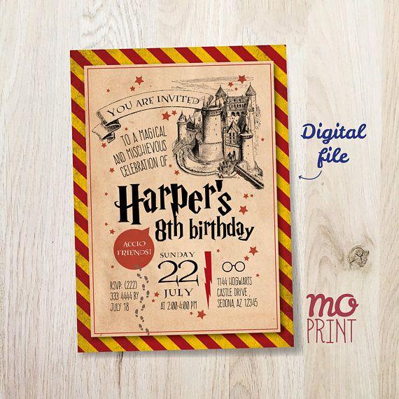 Harry Potter Birthday Invitation Harry Potter Invitation 5x7