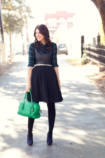 527d2450a7b Winter Outfit Idea - plaid button-down shirt under a fit and flare dress  worn with tights + ankle boots and a bright green bag