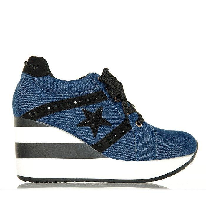 Sneakersy Jeansowe Krotkie Na Koturnie W Paski Www Buu Pl Koturny Shoes Buty Sneakers Shoes Converse