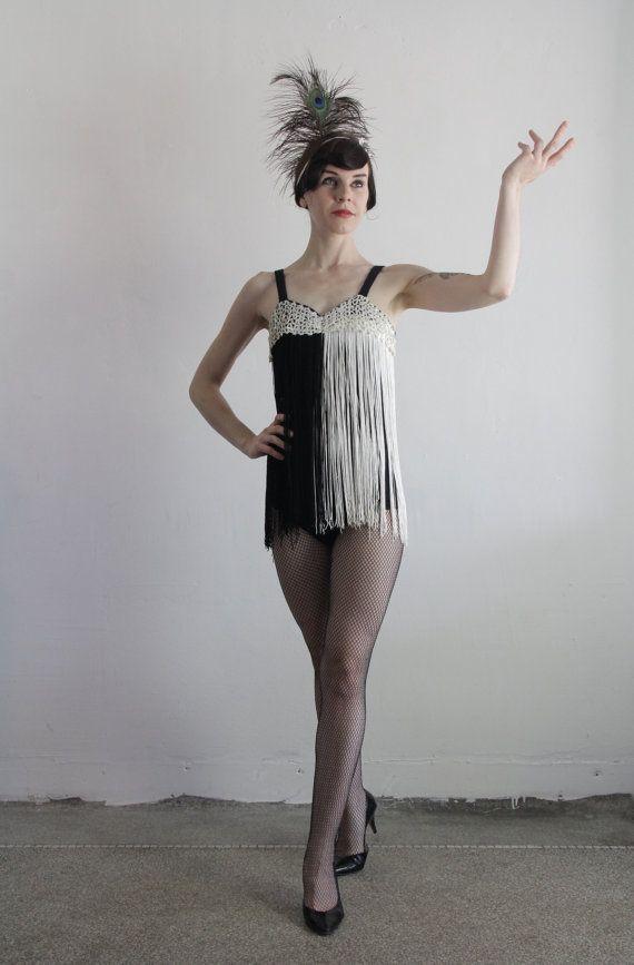 Vintage Show Girl Costume Burlesque Wear W Fringe At