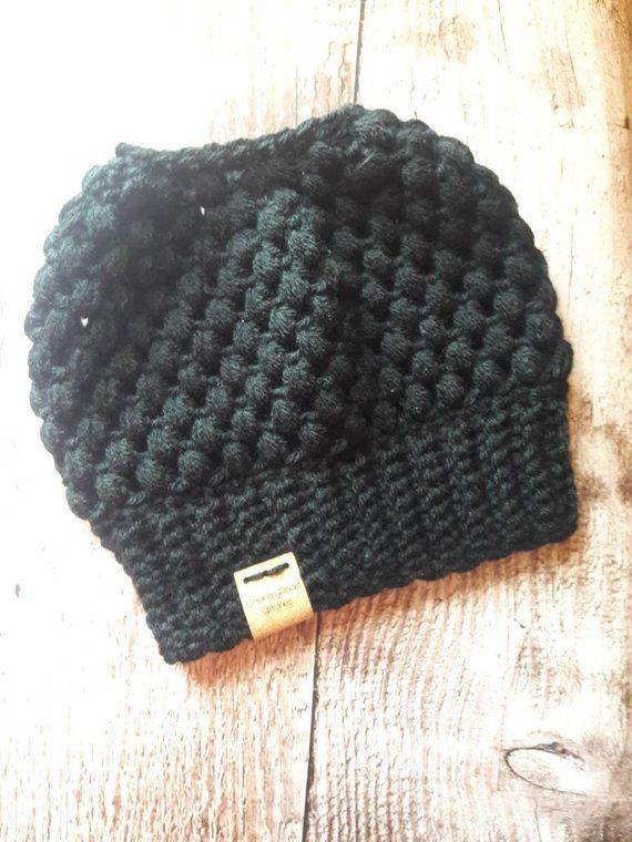 cb2f415d5 Details about Crochet Messy Bun - Ponytail Hat Hand Made Green Ivory ...