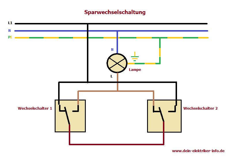 Sparwechselschaltung Bei Der Elektroinstallation Elektroinstallation Elektroinstallation Haus Elektroinstallation Selber Machen